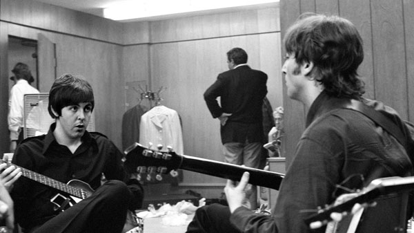 John and Paul recording Revolver at Abbey Road Studio